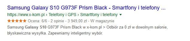 cena, dostępność przykład: samsung galaxy s10