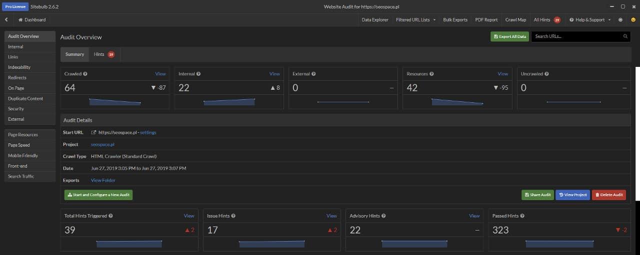 sitebulb audit overview seospace.pl
