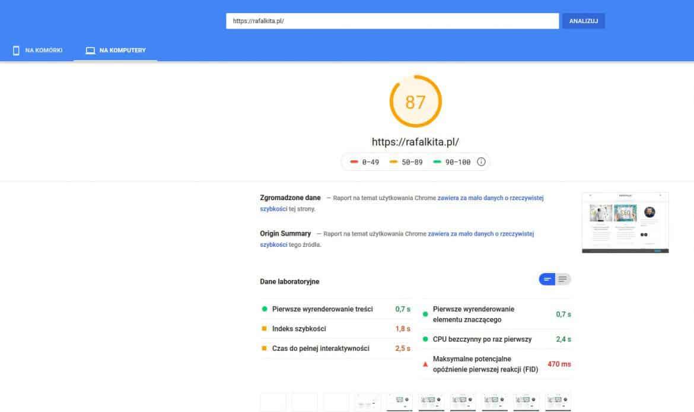 Szybkość ładowania strony w Google Insight