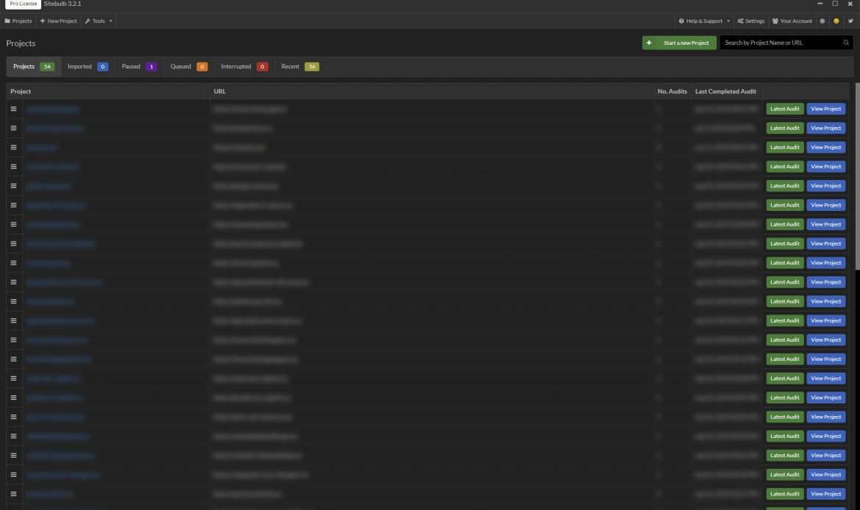 Sitebulb widok wszystkich projektów