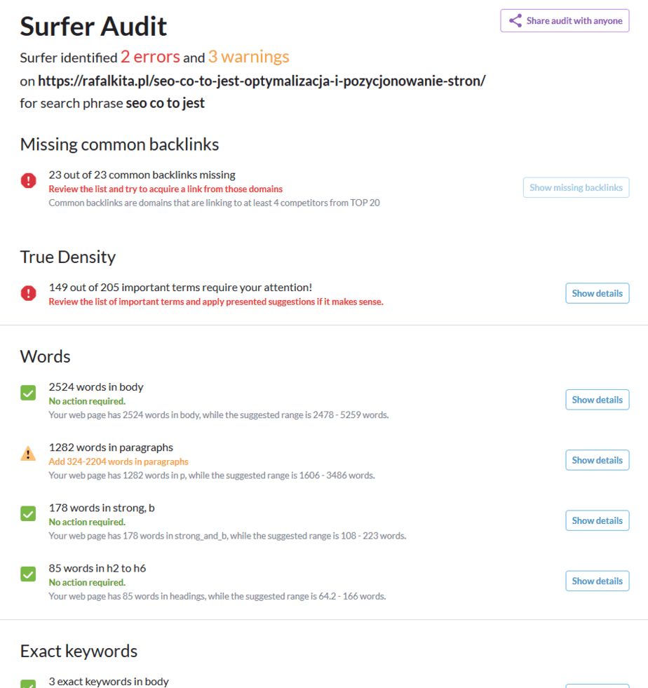 surfer audit - seo co to jest