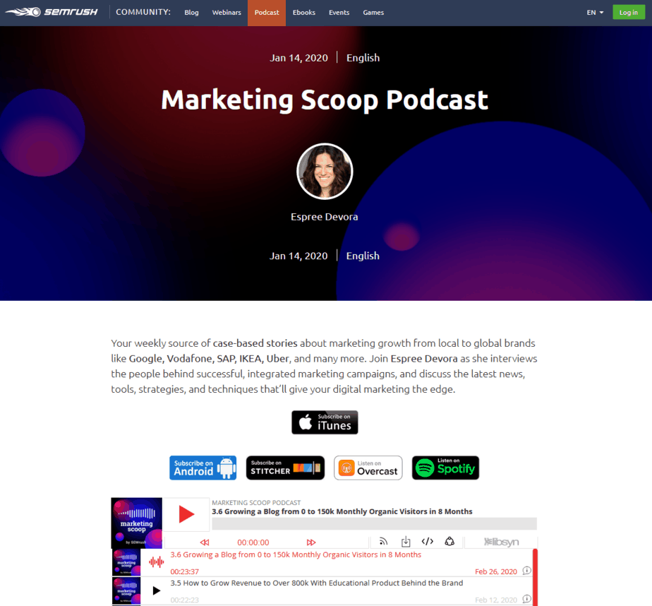 podcast semrush
