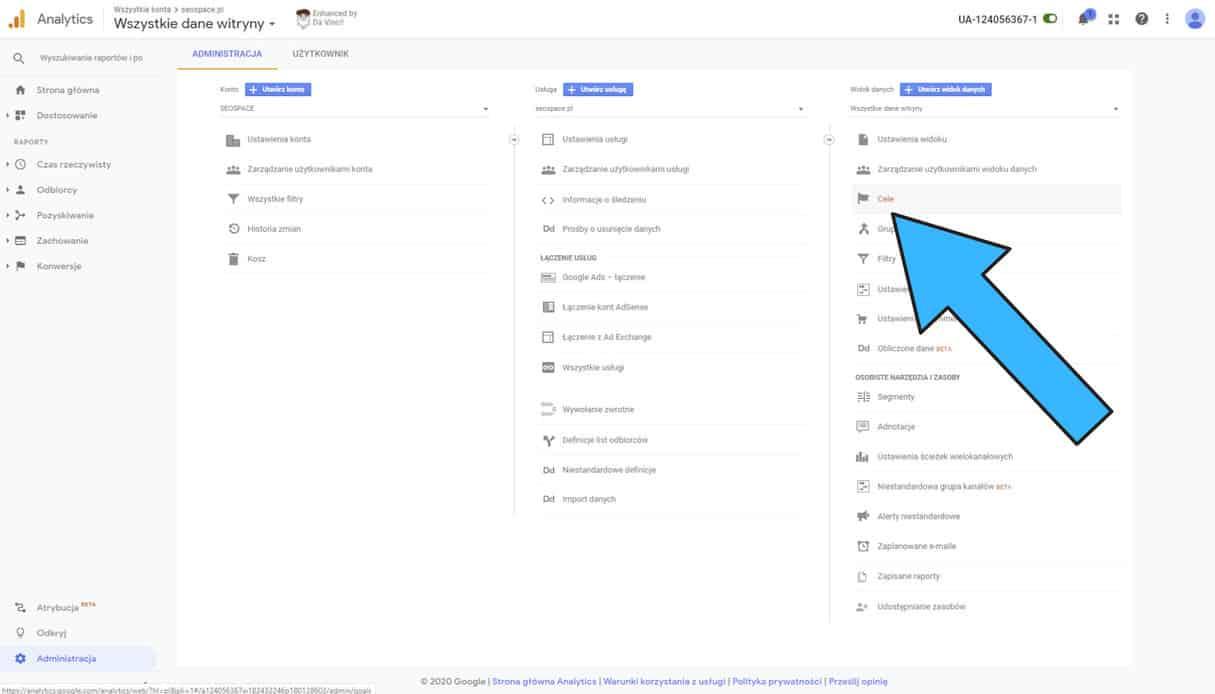 Administracja Cele Google Analytics