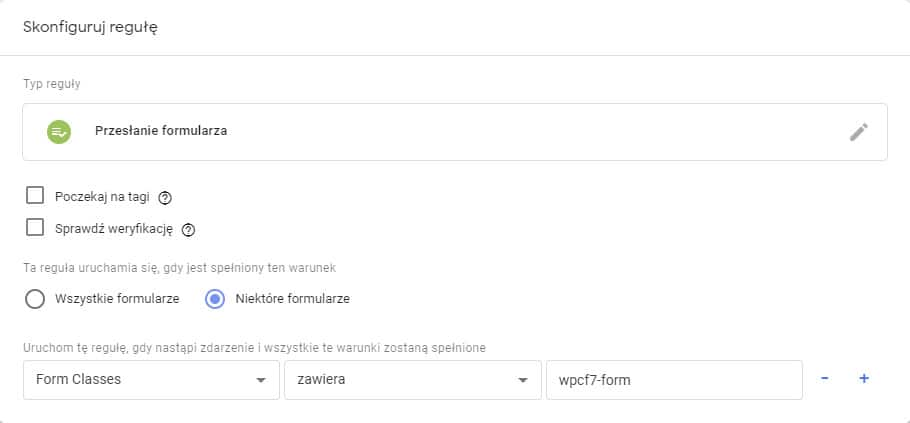 Skonfiguruj regułę przesłanie formularza w GTM