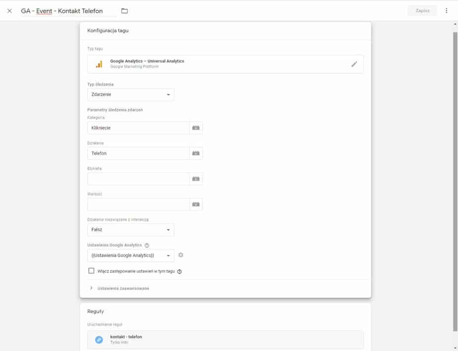 Konfiguracja tagu Google Tag Manager