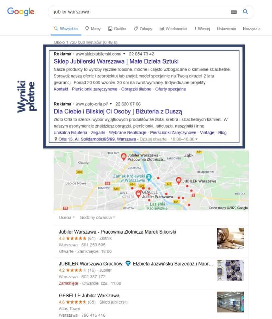 Wyniki płatne - Google Ads