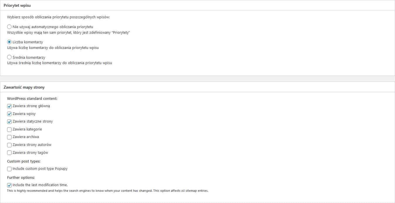 Google XML Sitemaps priorytet wpisu