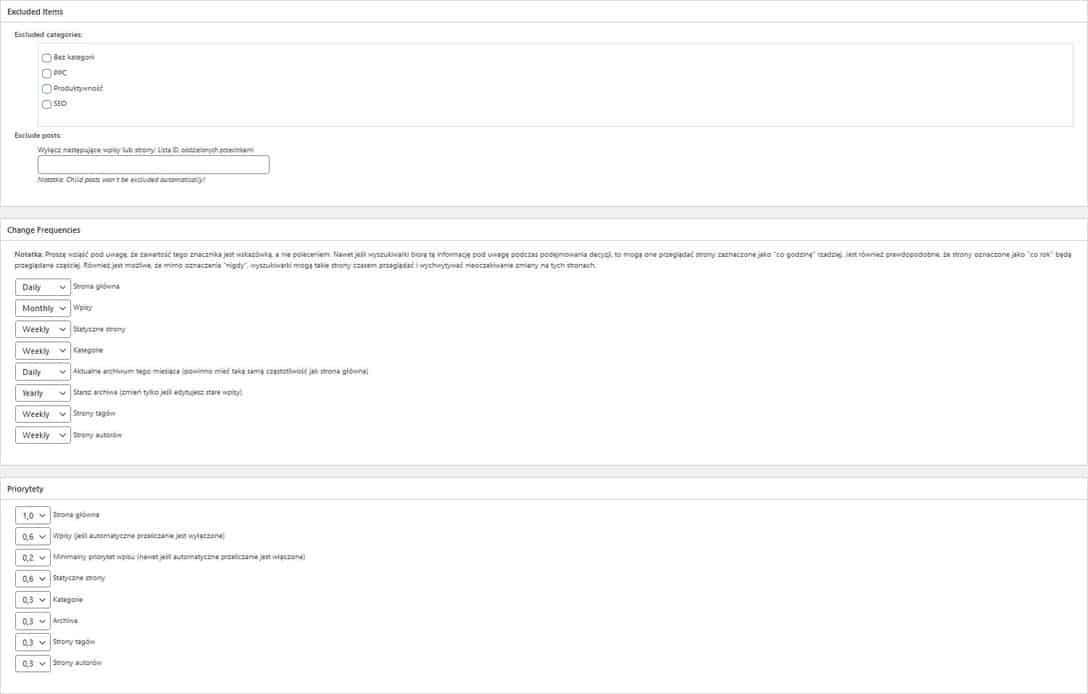 Google XML Sitemaps wykluczone treści