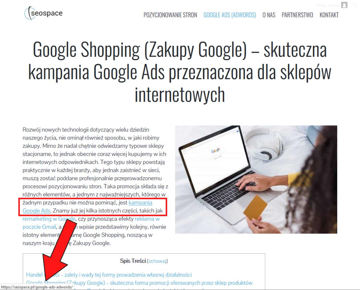 linki umieszczone wysoko na stronie